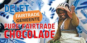 Speciaal ontworpen Delfts blauwe wikkel voor Fairtrade chocolade repen